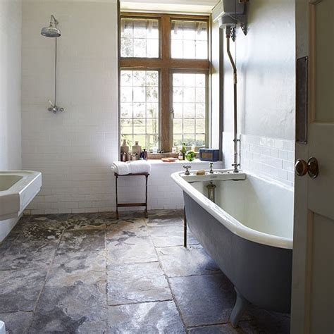 Bathroom Slate Tile Ideas Country Bathroom With Slate Floor Decorating Housetohome Co Uk