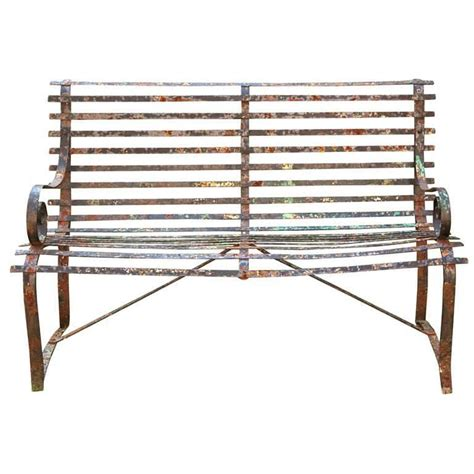 wrought iron bench for sale charming english wrought iron strap bench for sale at 1stdibs