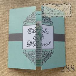 mint flourish 140mm gatefold wedding invitation design