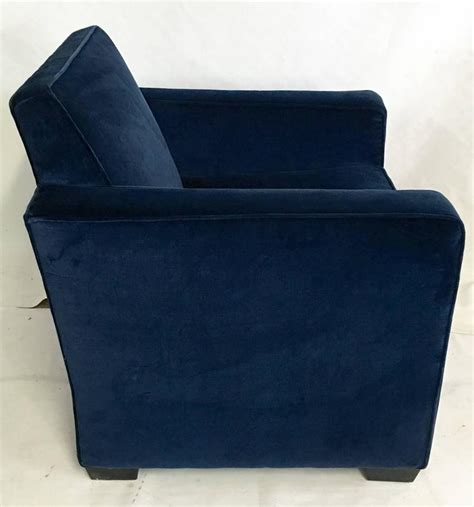 ralph deco blue velvet club arm chair for sale