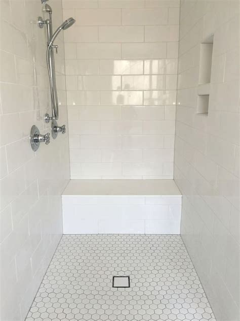 Large White Wall Tiles Bathroom by Large White Subway Tile Shower Surround With Hexagon Floor