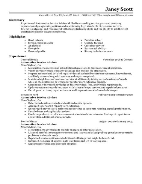resume format for automotive service manager unforgettable automotive customer service advisor resume exles to stand out myperfectresume