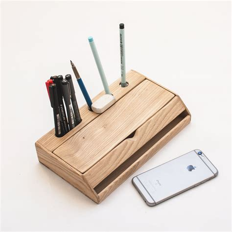 desk pen stand estuche wood desk organizer pen holder and iphone stand