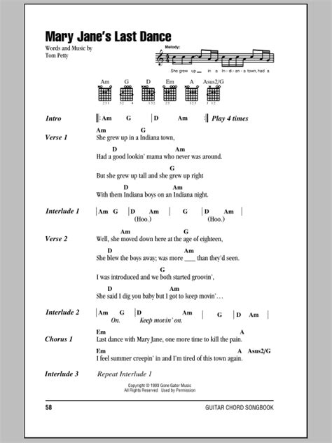 Last Dance With Mary Jane Guitar Chords