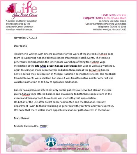 Thank You Letter For Conducting Volunteers From Sahaja Meditation Receive Appreciation Letter From Juravinski Cancer Centre