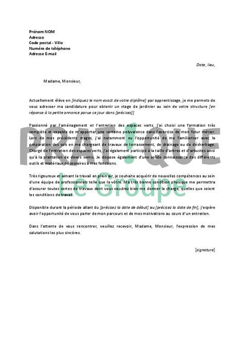 Modele De Lettre De Motivation Pour Un Stage Auxiliaire De Vie lettre de motivation pour un stage de jardinier pratique fr