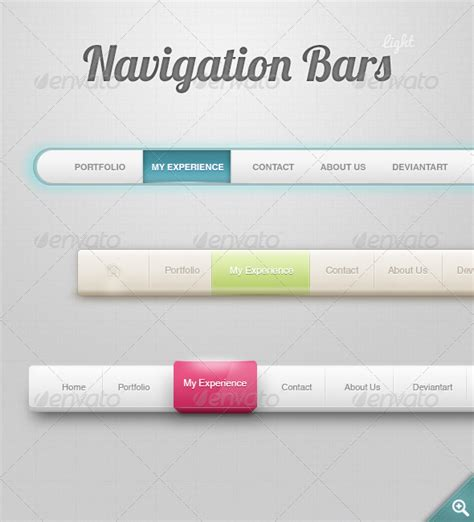 Design Navigation Menu Item | navigation menu light graphicriver