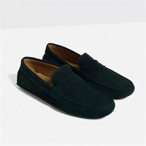zara loafers zara leather loafers in black for lyst