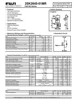 2sk2645 2s K2645 600v 9a 50w N Channel Mosfet To 220 Bi39 k2645 01mr datasheet k2645 01mr pdf pinouts circuit