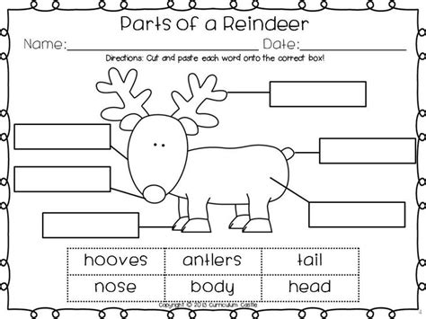 printable reindeer activities freebie label the parts of a reindeer school christmas