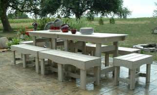 Patio Table With Bench Seating Outdoor Patio Set Recycled Plastic Table And Benches Garden Chairs