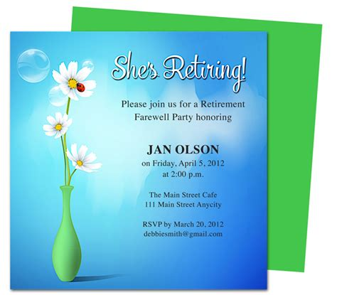 free retirement flyer template free retirement party invitation