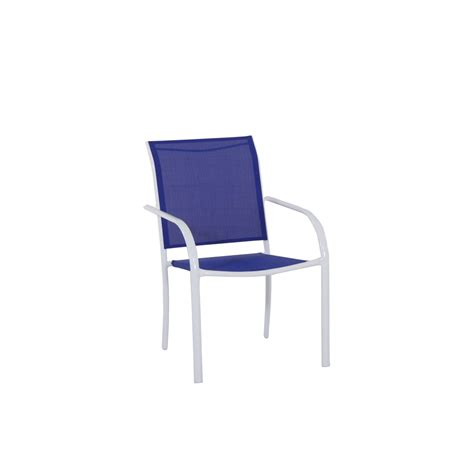 Stackable Patio Chair Shop Garden Treasures Pagosa Springs White Steel Stackable Patio Dining Chair With Blue Sling