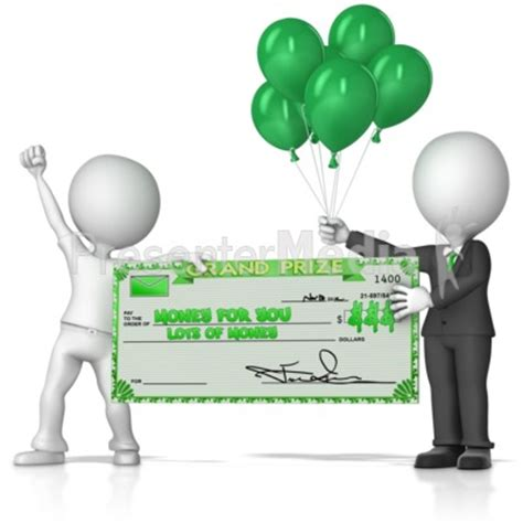 Sweepstakes Check - holding big sweepstakes check business and finance great clipart for presentations