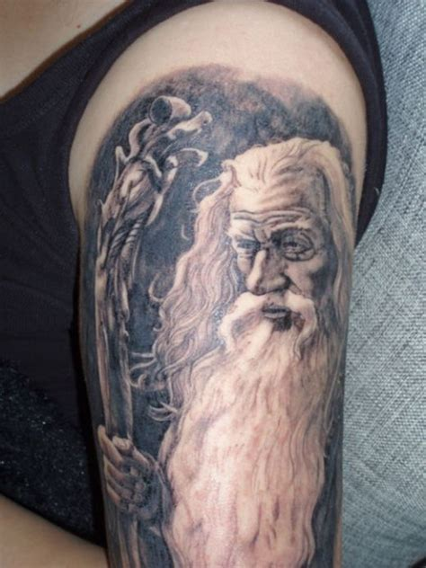 white wizard tattoo grey ink wizard half sleeve