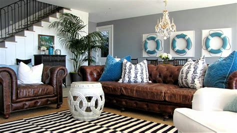 brown leather couch decor beach house design ideas nautical themed interior
