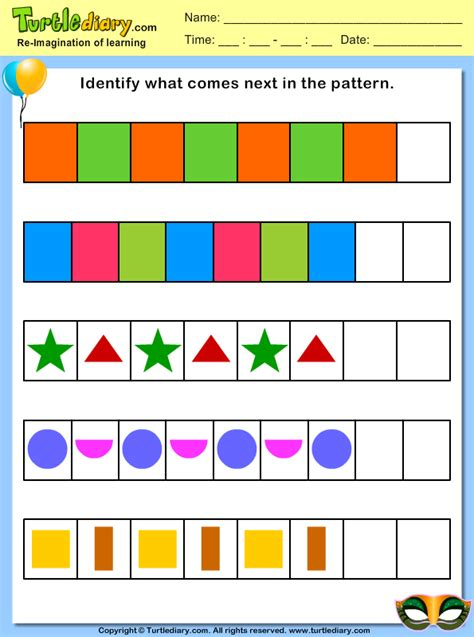 pattern worksheet what comes next identify what comes next in the pattern worksheet turtle