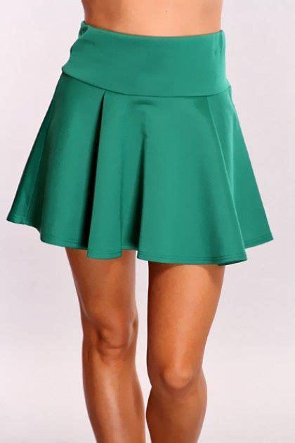 green high waist skater skirt closet