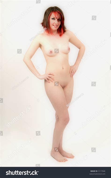 Vivacious Sexy Young Lady Brunette Red Stock Photo