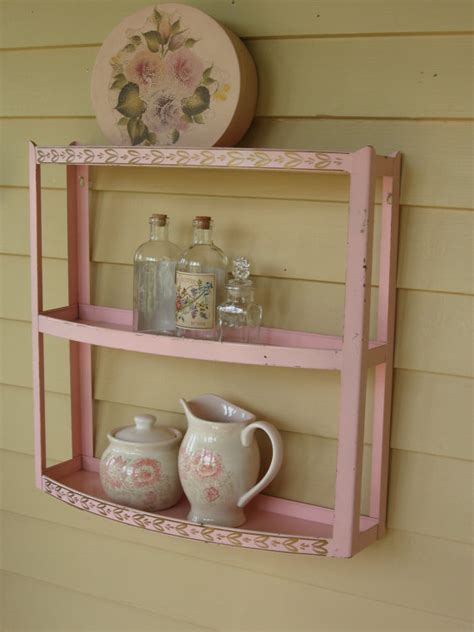 Vintage Pink Metal Bathroom Shelf Shabby Chic Baby Girl Shabby Chic Bathroom Shelves