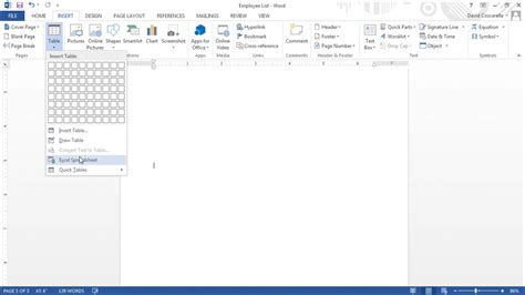 add template to word insert an excel worksheet into a word document tutorial