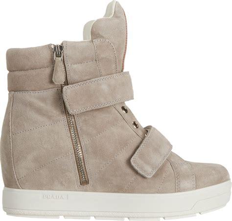 Prada Sneakers Prada Wedges prada wedge sneakers in gray lyst