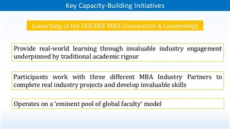 Ducere Mba Review by Capacity Building To Address Innovation Some Exles