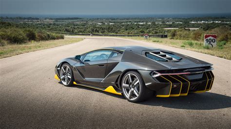 Lamborghini Centenario black supercar back view wallpaper