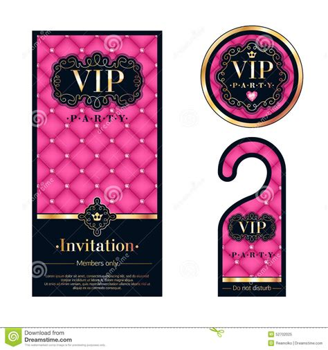 free vip card template vip invitation card warning hanger and badge stock vector
