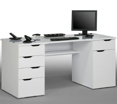 Mason Computer Work Station In White Wood And White High Black White Desk