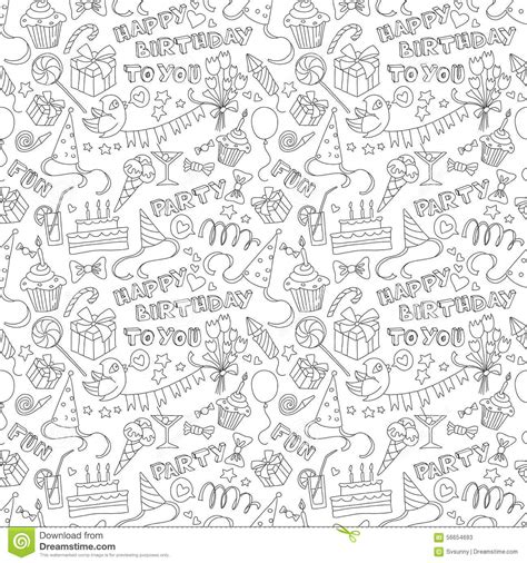 seamless doodle pattern free vector happy birthday party doodle black and white seamless
