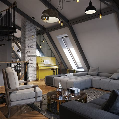 loft layout three dark colored loft apartments with exposed brick walls