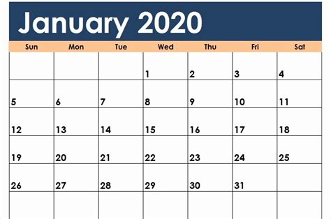 january calendar  printable template blank   word excel