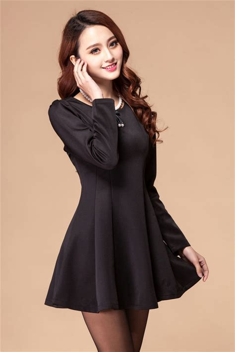 black sleeve neck a line dresses with