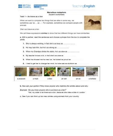 Metaphor Worksheets Pdf