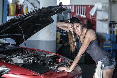 hot female mechanics sexy garage girl repair ford car by fabrice meuwissen on
