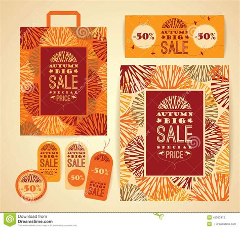 poster package layout design set for autumn sale stock vector illustration