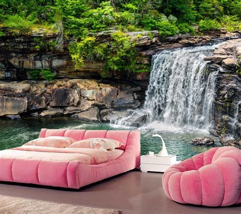 bedroom waterfalls 3d wall murals wallpaper waterfalls stones nature wallpaper living room tv sofa wall bedroom