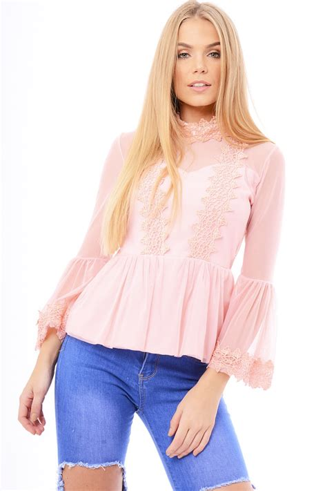 Sleeve High Neck Blouse by Pink Mesh Crochet Bell Sleeve High Neck Blouse Loretta