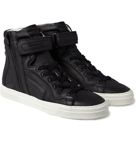 hardy black leather high top sneakers cool