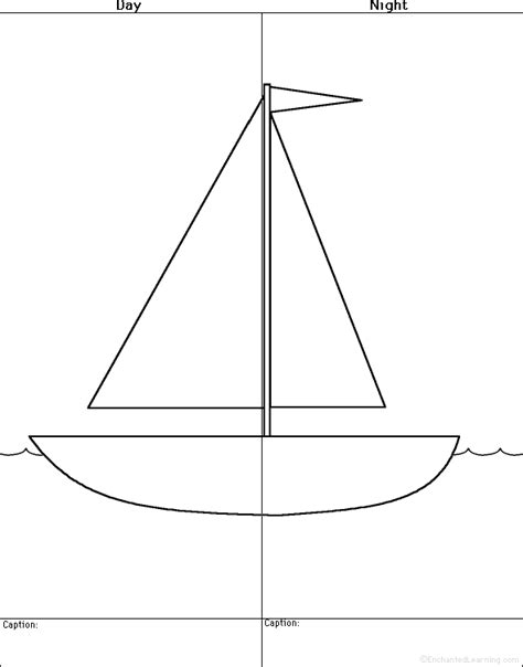 how to draw a boat using shapes draw a sailboat day and night printable worksheet