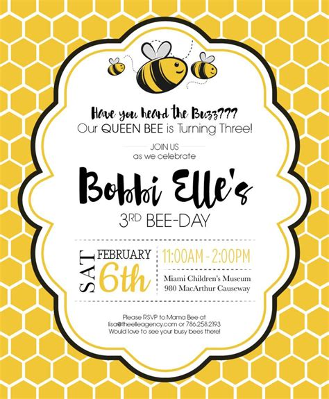 Bumble Bee Birthday Party Invite Kid Parties In 2019 Pinterest Bumble Bee Birthday Bee Bumble Bee Invitation Template Free