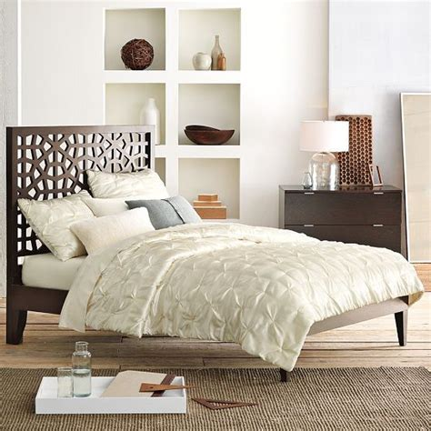 narrow headboard narrow leg wood bed frame modern beds by west elm