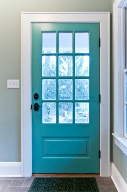 turquoise blue doors and accent colors on