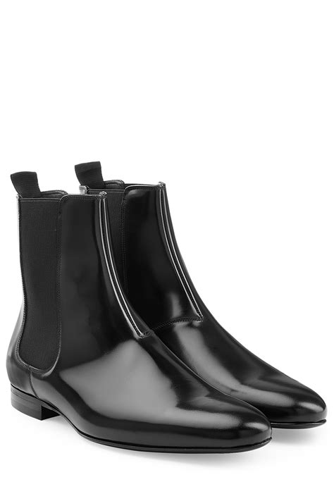 burberry boots mens burberry patent leather chelsea boots in black for lyst