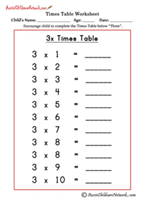 3 times table worksheet multiplication times tables worksheets aussie childcare network