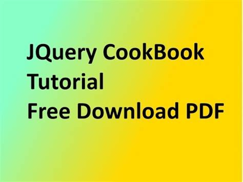 jquery tutorial advanced pdf jquery cookbook tutorial free download pdf asp net exles