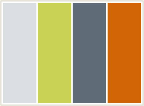 gray color combination colorcombo155 with hex colors dadde2 c9d255 5f6b77 d16405