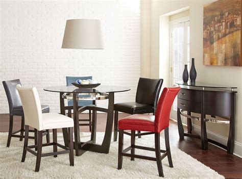 carolyn glass top round dining room set from steve silver matinee glass top round counter height dining room set