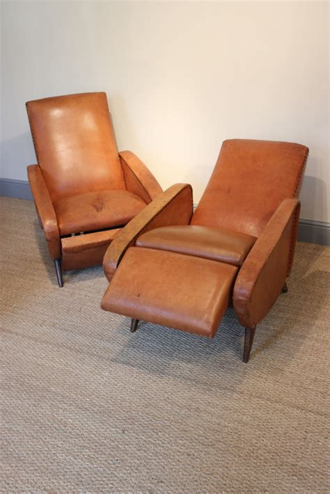 reclining leather armchairs pair of de sede ds 101 leather reclining armchairs 1969